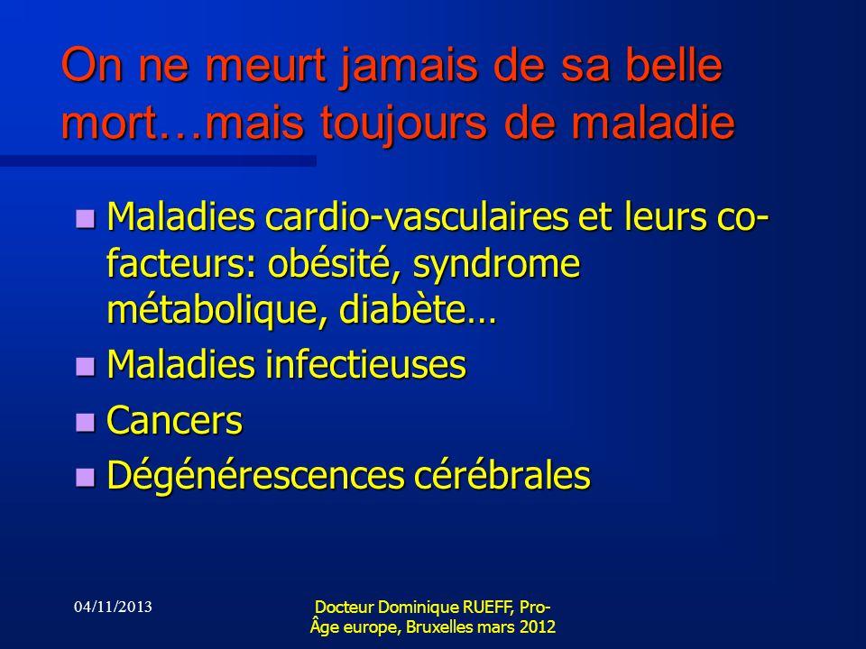 04/11/2013 Docteur Dominique RUEFF, Pro- Âge europe, Bruxelles mars 2012 On ne meurt jamais de sa belle mort…mais toujours de maladie Maladies cardio-