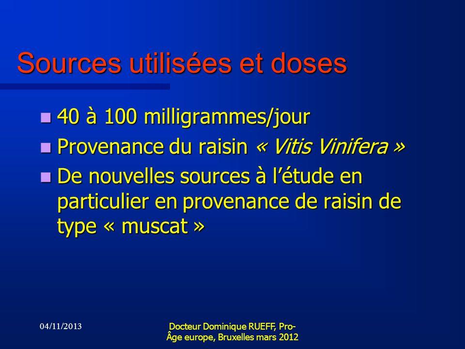 04/11/2013 Docteur Dominique RUEFF, Pro- Âge europe, Bruxelles mars 2012 Sources utilisées et doses 40 à 100 milligrammes/jour 40 à 100 milligrammes/j