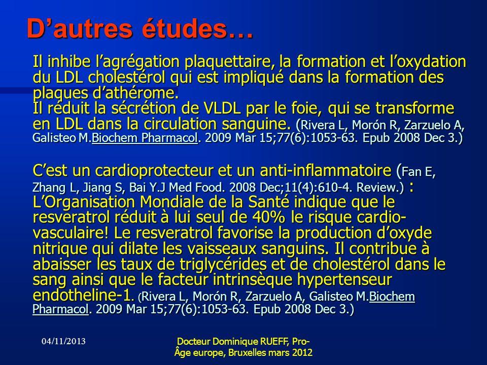 04/11/2013 Docteur Dominique RUEFF, Pro- Âge europe, Bruxelles mars 2012 Dautres études… Il inhibe lagrégation plaquettaire, la formation et loxydatio