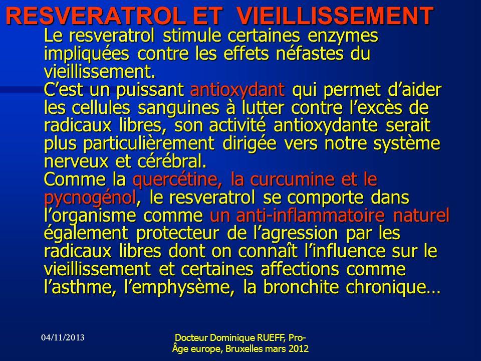 04/11/2013 Docteur Dominique RUEFF, Pro- Âge europe, Bruxelles mars 2012 RESVERATROL ET VIEILLISSEMENT Le resveratrol stimule certaines enzymes impliq