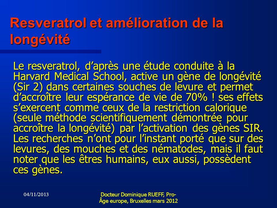 04/11/2013 Docteur Dominique RUEFF, Pro- Âge europe, Bruxelles mars 2012 Resveratrol et amélioration de la longévité Le resveratrol, daprès une étude