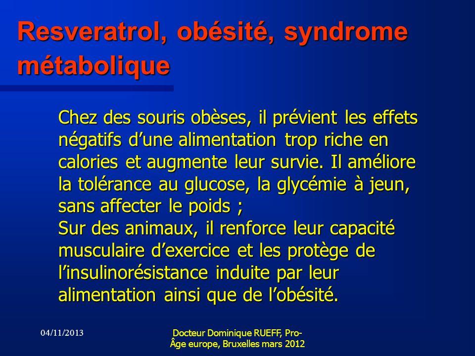 04/11/2013 Docteur Dominique RUEFF, Pro- Âge europe, Bruxelles mars 2012 Resveratrol, obésité, syndrome métabolique Chez des souris obèses, il prévien