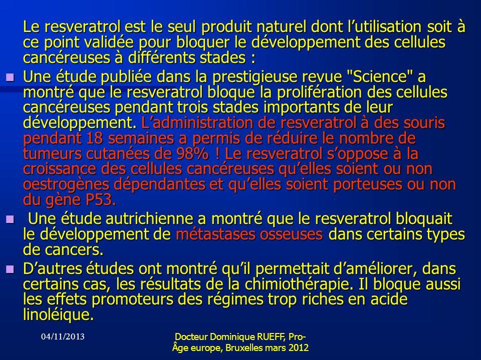 04/11/2013 Docteur Dominique RUEFF, Pro- Âge europe, Bruxelles mars 2012 Le resveratrol est le seul produit naturel dont lutilisation soit à ce point