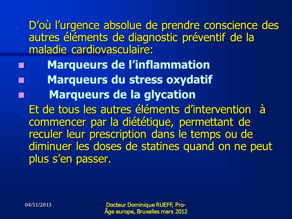 04/11/2013 Docteur Dominique RUEFF, Pro- Âge europe, Bruxelles mars 2012 Doù lurgence absolue de prendre conscience des autres éléments de diagnostic