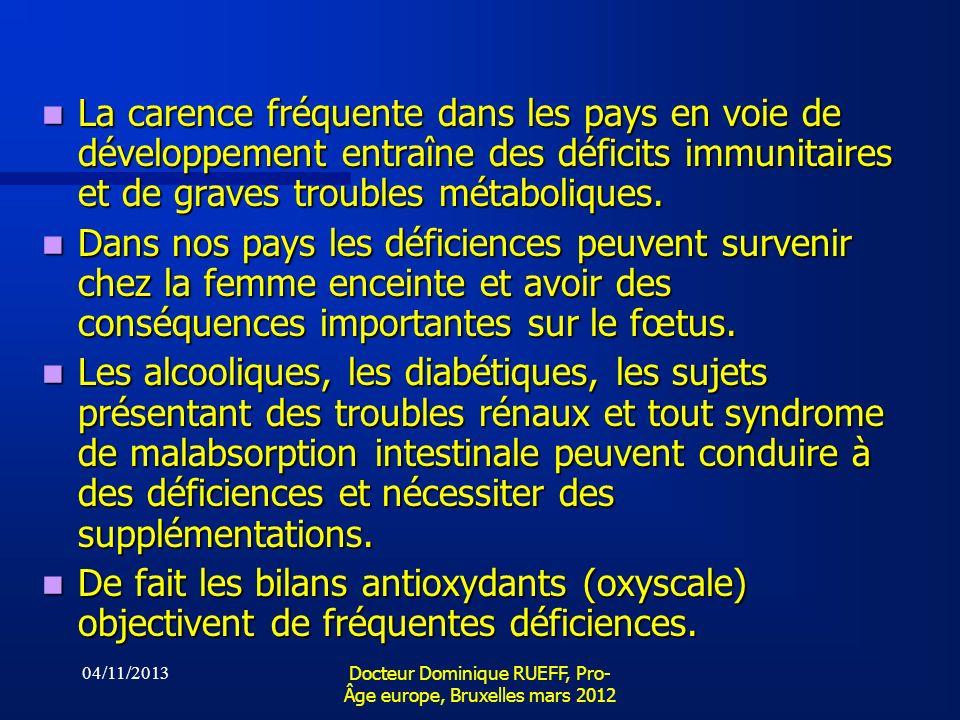 04/11/2013 Docteur Dominique RUEFF, Pro- Âge europe, Bruxelles mars 2012 La carence fréquente dans les pays en voie de développement entraîne des défi