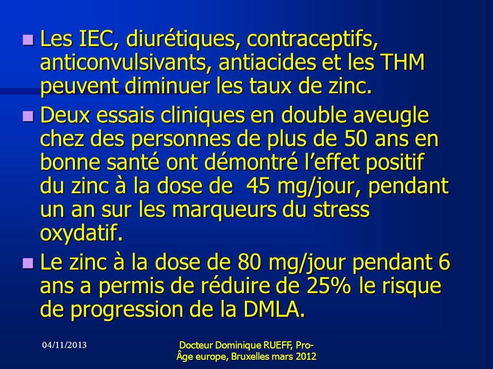 04/11/2013 Docteur Dominique RUEFF, Pro- Âge europe, Bruxelles mars 2012 Les IEC, diurétiques, contraceptifs, anticonvulsivants, antiacides et les THM
