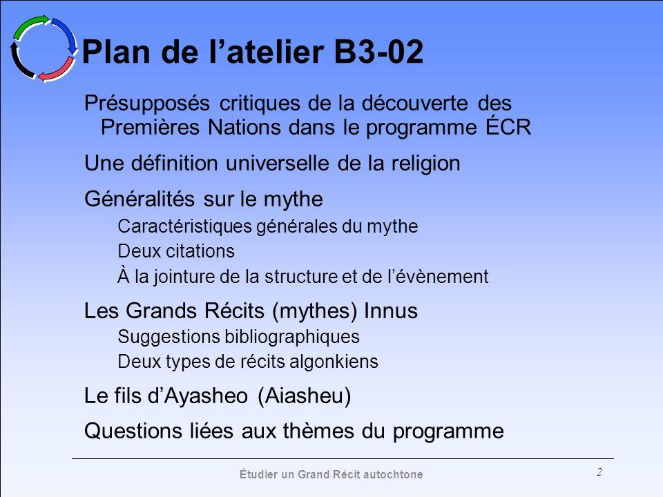 2 Plan de latelier B3-02 Présupposés critiques de la découverte des Premières Nations dans le programme ÉCR Une définition universelle de la religion