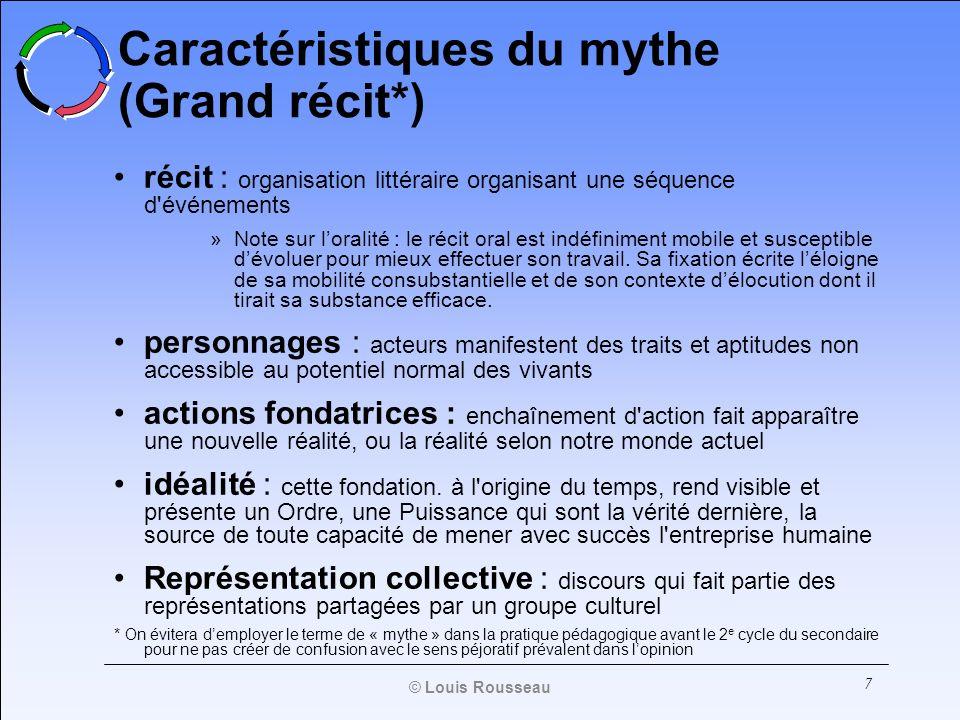 7 Caractéristiques du mythe (Grand récit*) récit : organisation littéraire organisant une séquence d'événements »Note sur loralité : le récit oral est