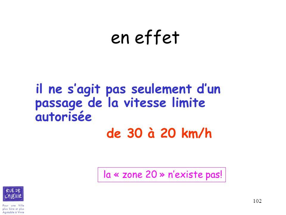 102 en effet il ne sagit pas seulement dun passage de la vitesse limite autorisée de 30 à 20 km/h la « zone 20 » nexiste pas!