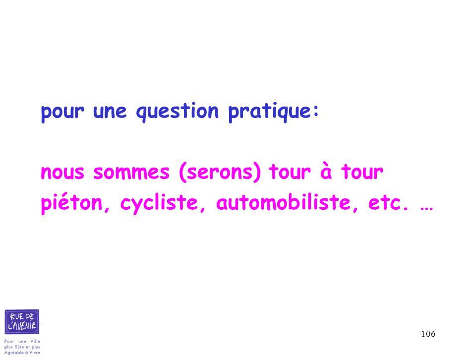 106 pour une question pratique: nous sommes (serons) tour à tour piéton, cycliste, automobiliste, etc. …