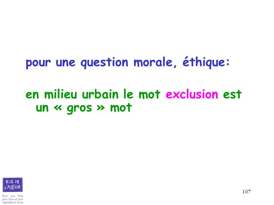 107 pour une question morale, éthique: en milieu urbain le mot exclusion est un « gros » mot