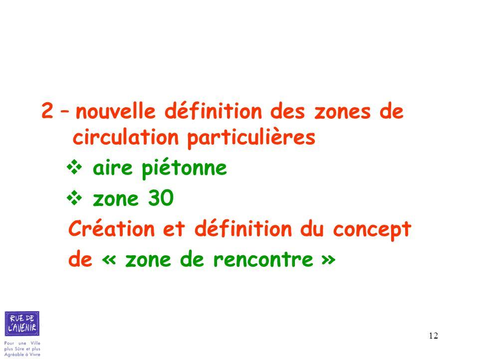 12 2 – nouvelle définition des zones de circulation particulières aire piétonne zone 30 Création et définition du concept de « zone de rencontre »