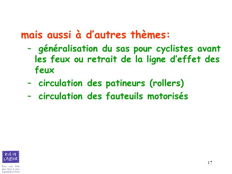 17 mais aussi à dautres thèmes: – généralisation du sas pour cyclistes avant les feux ou retrait de la ligne deffet des feux – circulation des patineu