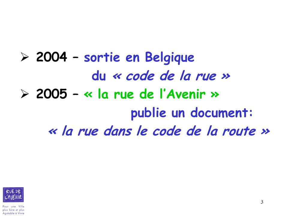 3 2004 – sortie en Belgique du « code de la rue » 2005 – « la rue de lAvenir » publie un document: « la rue dans le code de la route »