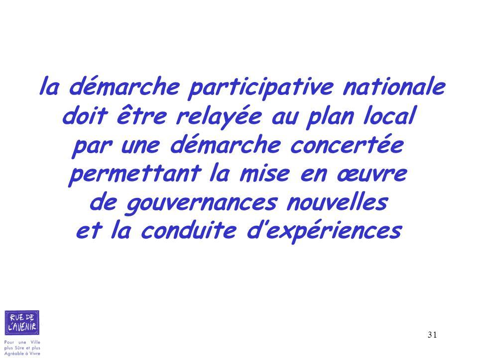 31 la démarche participative nationale doit être relayée au plan local par une démarche concertée permettant la mise en œuvre de gouvernances nouvelle