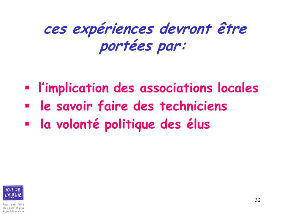 32 ces expériences devront être portées par: limplication des associations locales le savoir faire des techniciens la volonté politique des élus