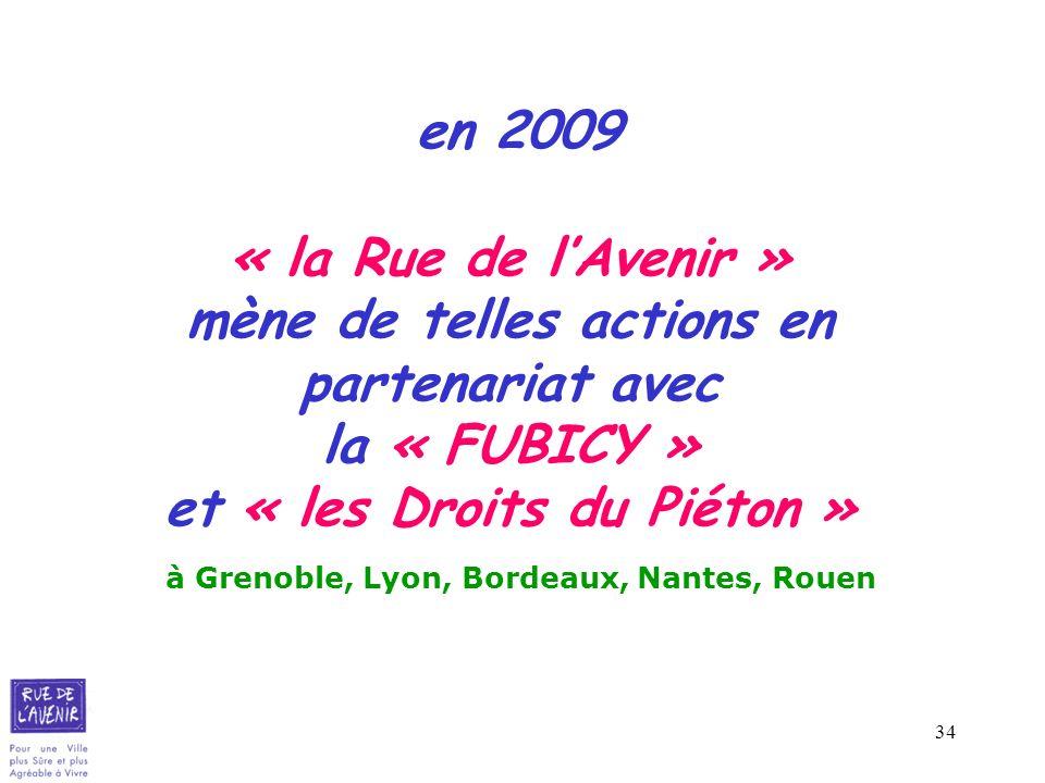 34 en 2009 « la Rue de lAvenir » mène de telles actions en partenariat avec la « FUBICY » et « les Droits du Piéton » à Grenoble, Lyon, Bordeaux, Nant