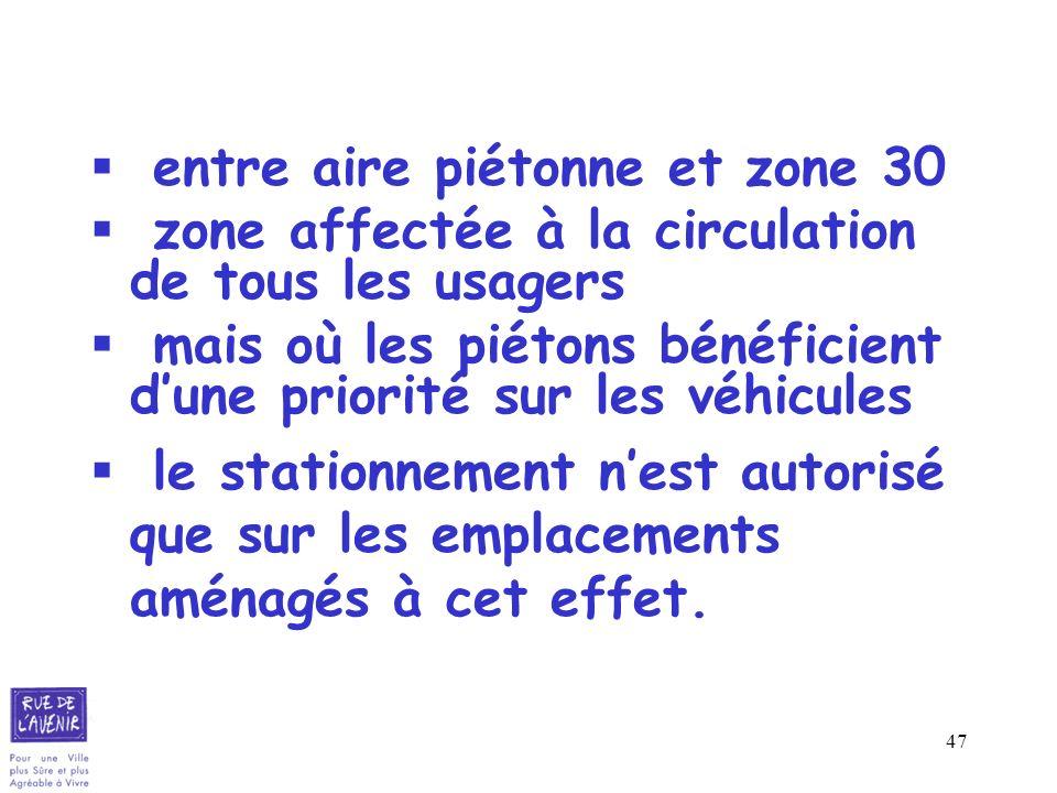 47 entre aire piétonne et zone 30 zone affectée à la circulation de tous les usagers mais où les piétons bénéficient dune priorité sur les véhicules l