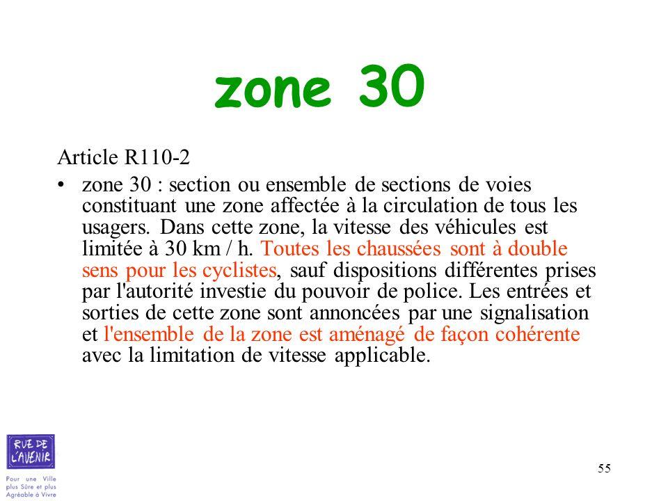 55 zone 30 Article R110-2 zone 30 : section ou ensemble de sections de voies constituant une zone affectée à la circulation de tous les usagers. Dans