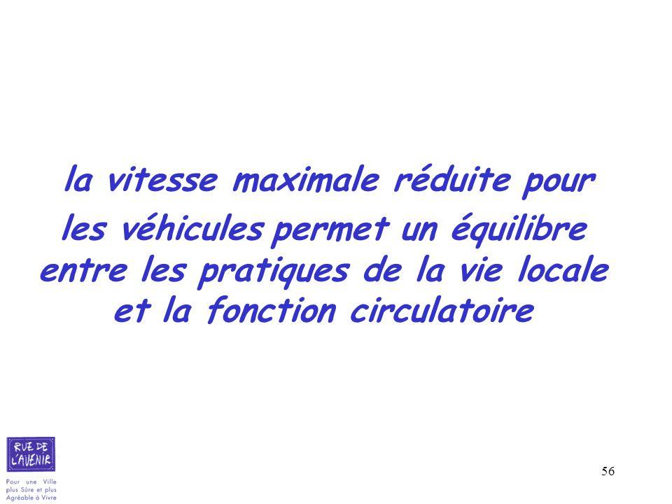 56 la vitesse maximale réduite pour les véhicules permet un équilibre entre les pratiques de la vie locale et la fonction circulatoire