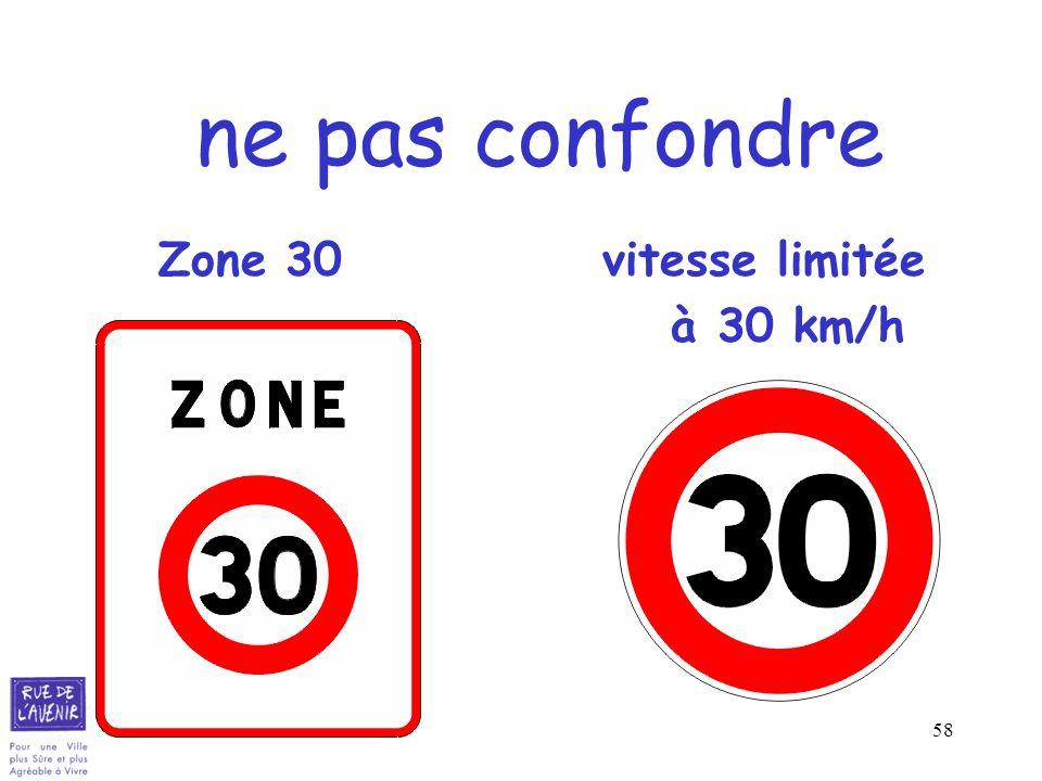 58 ne pas confondre Zone 30 vitesse limitée à 30 km/h