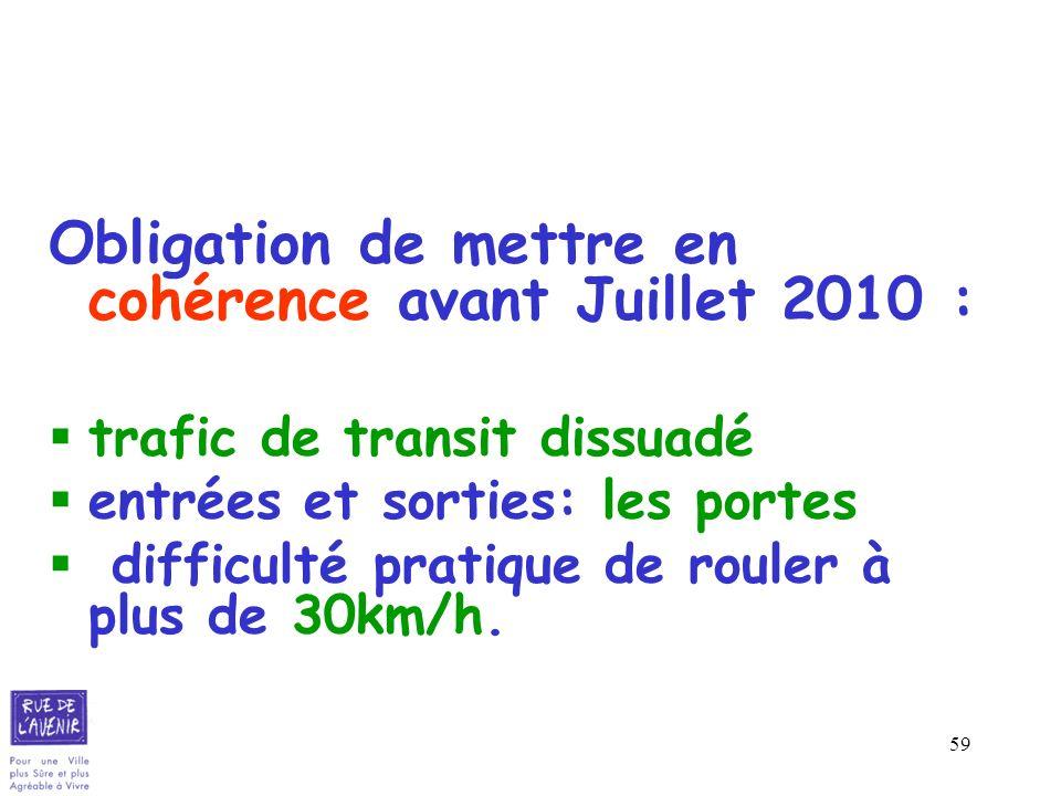 59 Obligation de mettre en cohérence avant Juillet 2010 : trafic de transit dissuadé entrées et sorties: les portes difficulté pratique de rouler à pl