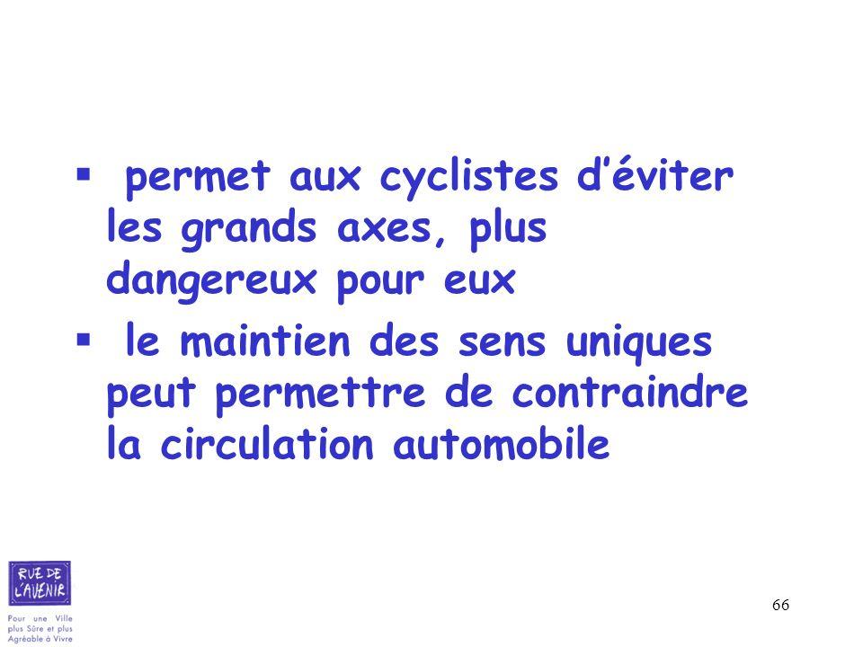 66 permet aux cyclistes déviter les grands axes, plus dangereux pour eux le maintien des sens uniques peut permettre de contraindre la circulation aut