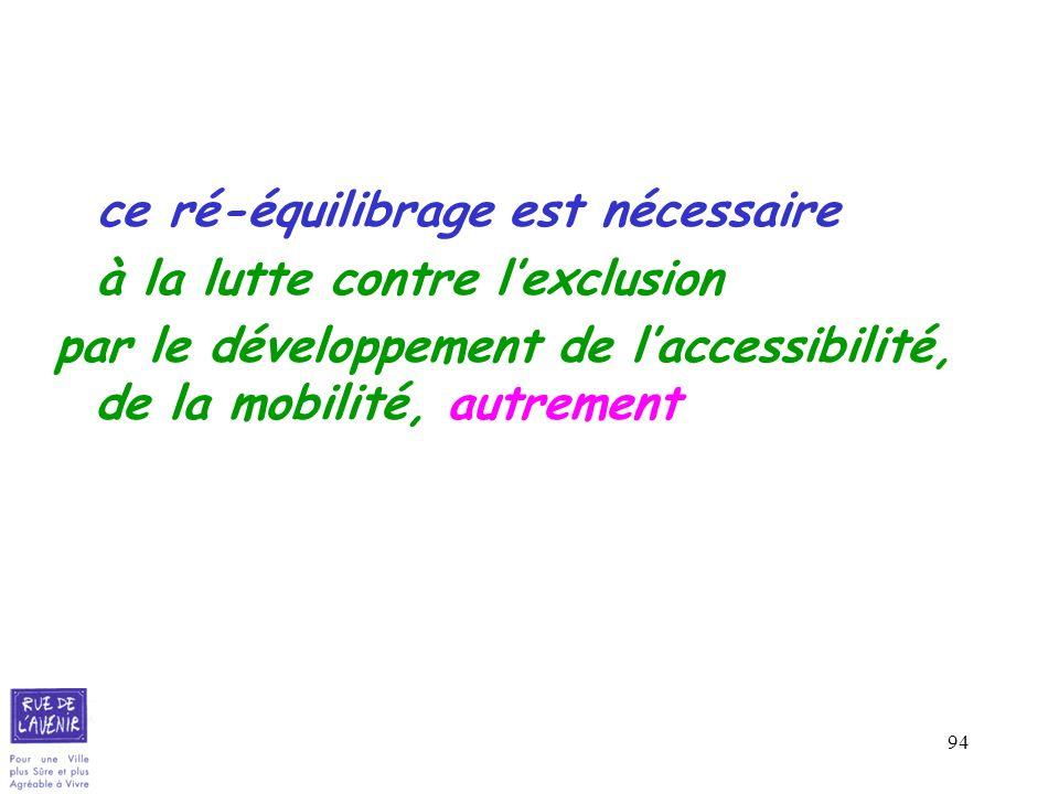 94 ce ré-équilibrage est nécessaire à la lutte contre lexclusion par le développement de laccessibilité, de la mobilité, autrement