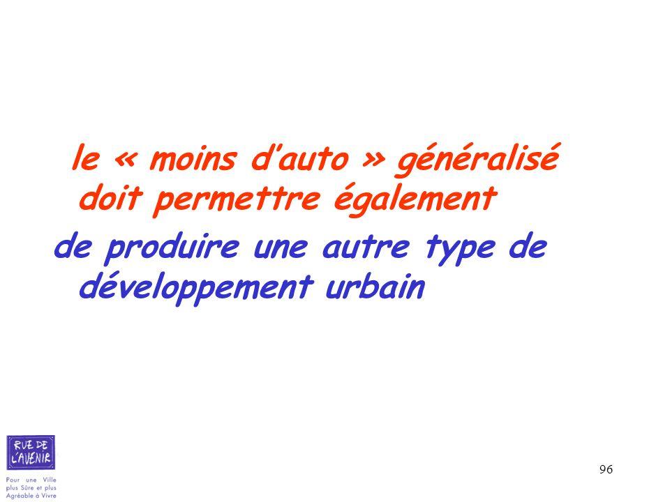 96 le « moins dauto » généralisé doit permettre également de produire une autre type de développement urbain