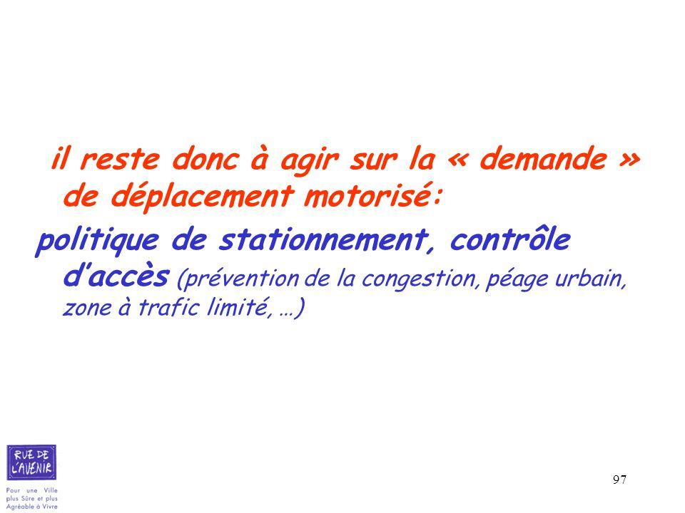 97 il reste donc à agir sur la « demande » de déplacement motorisé: politique de stationnement, contrôle daccès (prévention de la congestion, péage ur