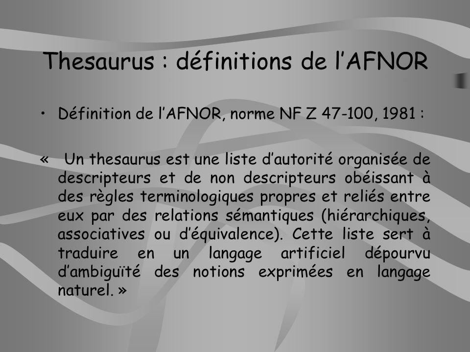 Les relations entre les termes dun thesaurus Relations déquivalence Relations de hiérarchie Relations dassociativité Relations de définition Relations catégorielles