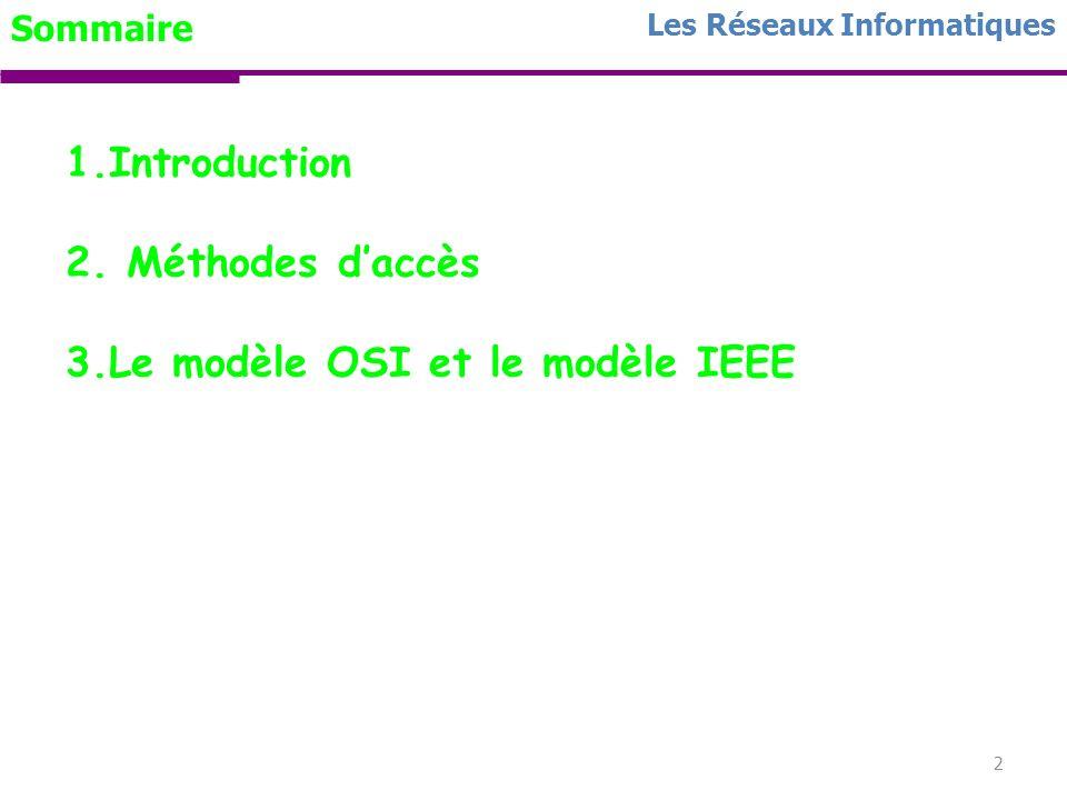 1 Chapitre I RESEAUX LOCAUX Les Réseaux Informatiques