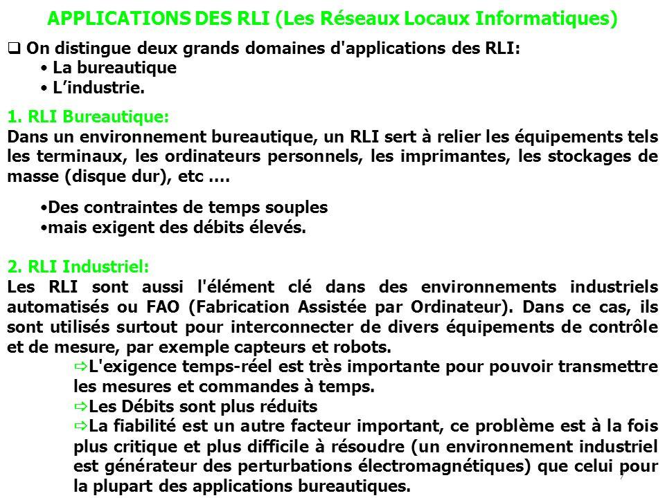 7 APPLICATIONS DES RLI (Les Réseaux Locaux Informatiques) On distingue deux grands domaines d applications des RLI: La bureautique Lindustrie.