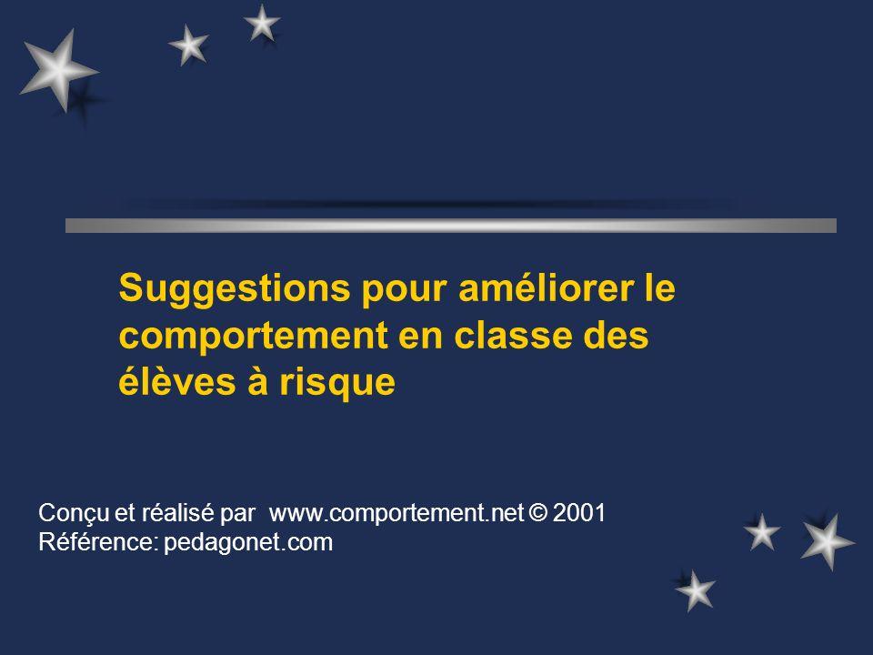 Suggestions pour améliorer le comportement en classe des élèves à risque Conçu et réalisé par www.comportement.net © 2001 Référence: pedagonet.com