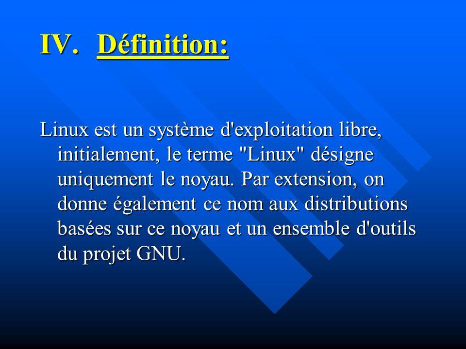 IV.Définition: Linux est un système d'exploitation libre, initialement, le terme