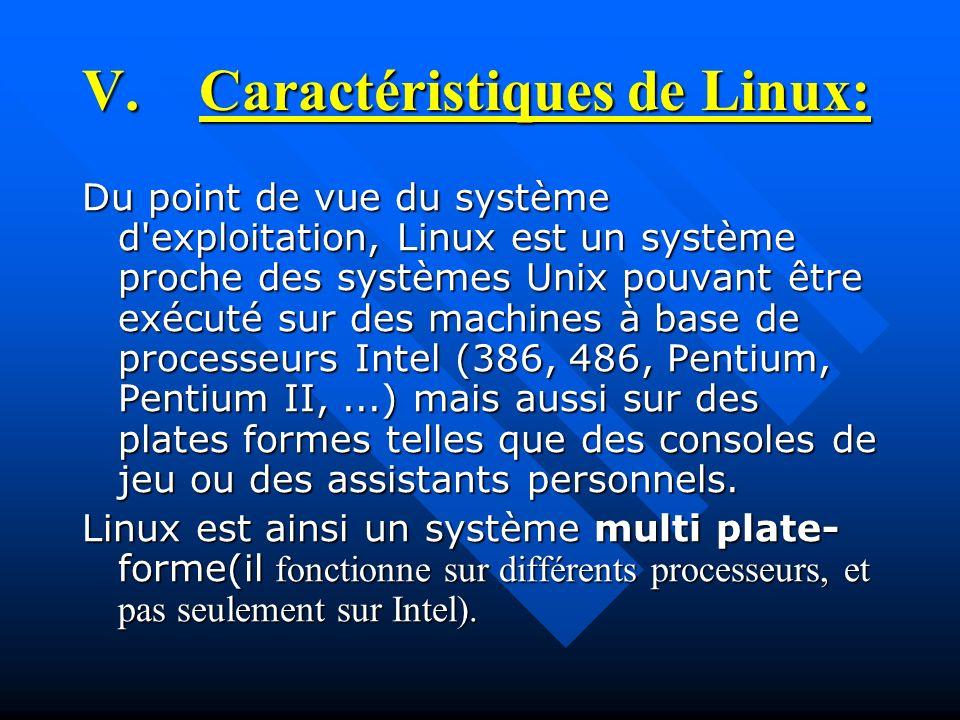 V.Caractéristiques de Linux: Du point de vue du système d'exploitation, Linux est un système proche des systèmes Unix pouvant être exécuté sur des mac