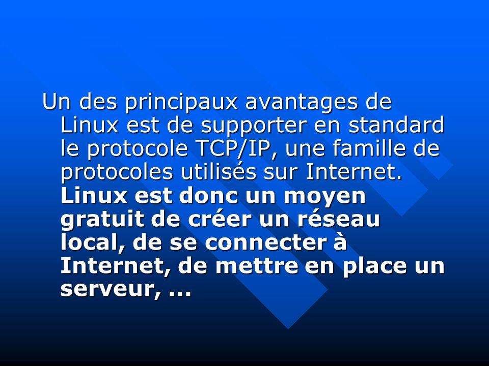 Un des principaux avantages de Linux est de supporter en standard le protocole TCP/IP, une famille de protocoles utilisés sur Internet. Linux est donc