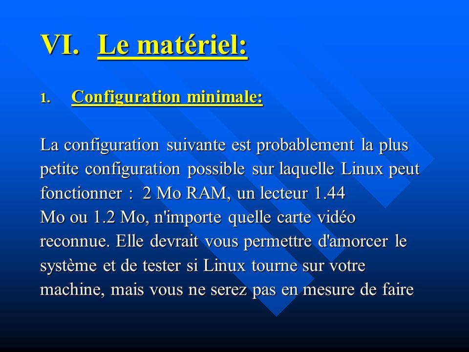 VI.Le matériel: 1. Configuration minimale: La configuration suivante est probablement la plus petite configuration possible sur laquelle Linux peut fo