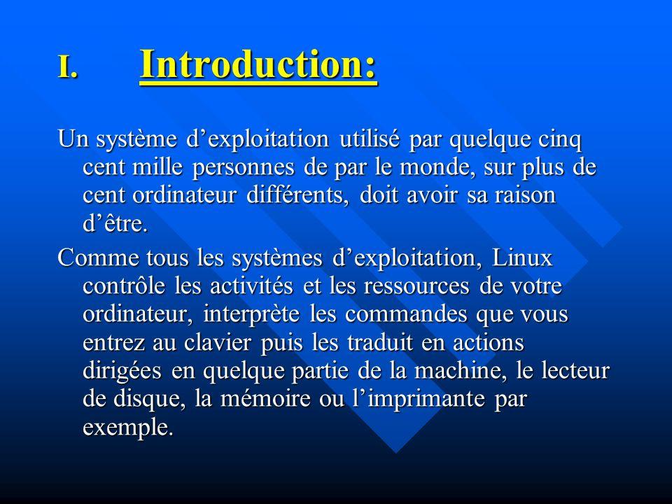 V.Caractéristiques de Linux: Du point de vue du système d exploitation, Linux est un système proche des systèmes Unix pouvant être exécuté sur des machines à base de processeurs Intel (386, 486, Pentium, Pentium II,...) mais aussi sur des plates formes telles que des consoles de jeu ou des assistants personnels.