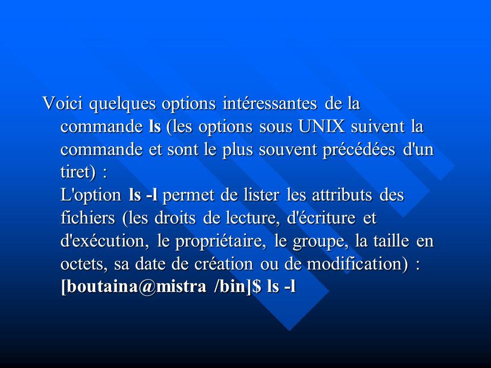 Voici quelques options intéressantes de la commande ls (les options sous UNIX suivent la commande et sont le plus souvent précédées d'un tiret) : L'op