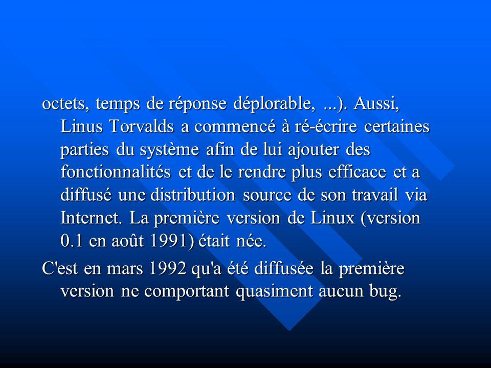 octets, temps de réponse déplorable,...). Aussi, Linus Torvalds a commencé à ré-écrire certaines parties du système afin de lui ajouter des fonctionna