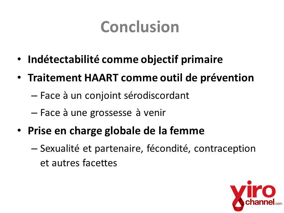 Conclusion Indétectabilité comme objectif primaire Traitement HAART comme outil de prévention – Face à un conjoint sérodiscordant – Face à une grosses