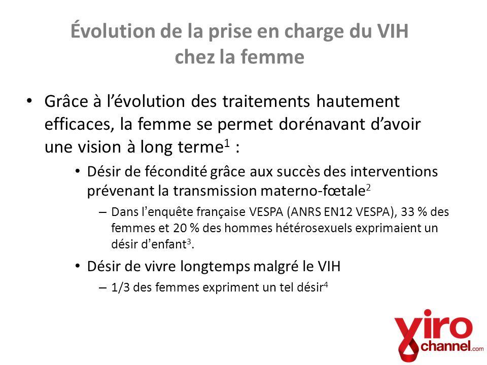 Évolution de la prise en charge du VIH chez la femme Grâce à lévolution des traitements hautement efficaces, la femme se permet dorénavant davoir une