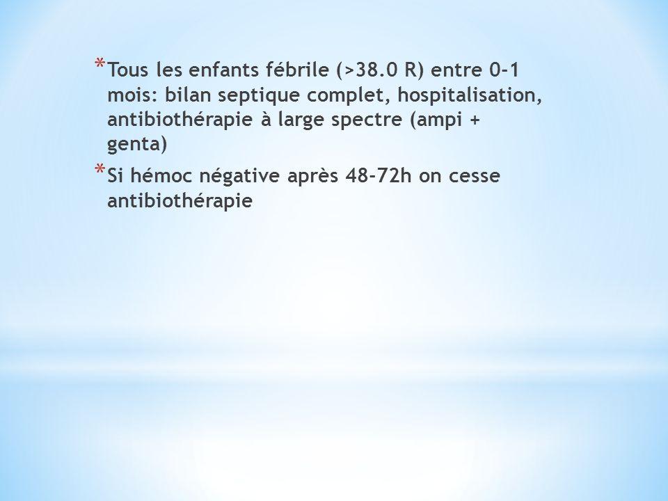 * Tous les enfants fébrile (>38.0 R) entre 0-1 mois: bilan septique complet, hospitalisation, antibiothérapie à large spectre (ampi + genta) * Si hémo