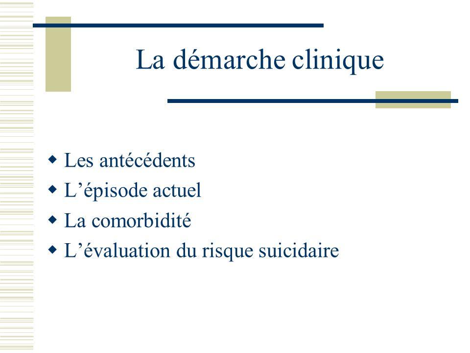 La démarche clinique Les antécédents Lépisode actuel La comorbidité Lévaluation du risque suicidaire