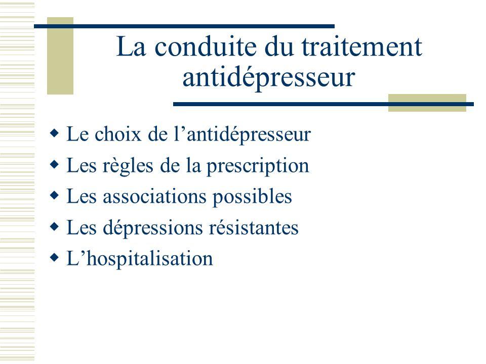 La conduite du traitement antidépresseur Le choix de lantidépresseur Les règles de la prescription Les associations possibles Les dépressions résistan