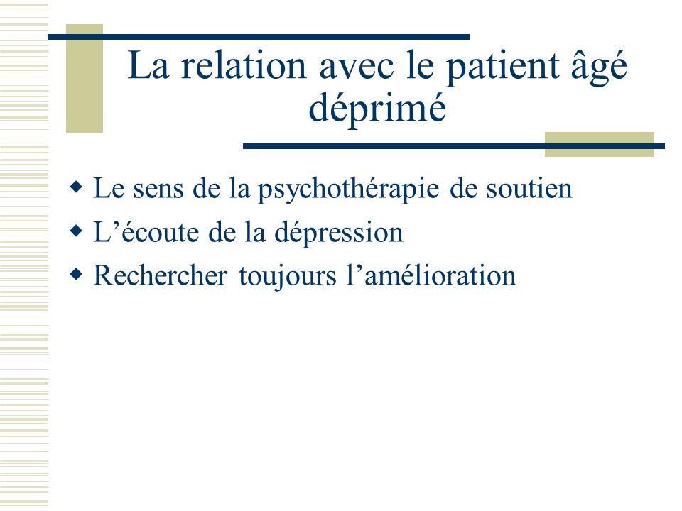 La relation avec le patient âgé déprimé Le sens de la psychothérapie de soutien Lécoute de la dépression Rechercher toujours lamélioration