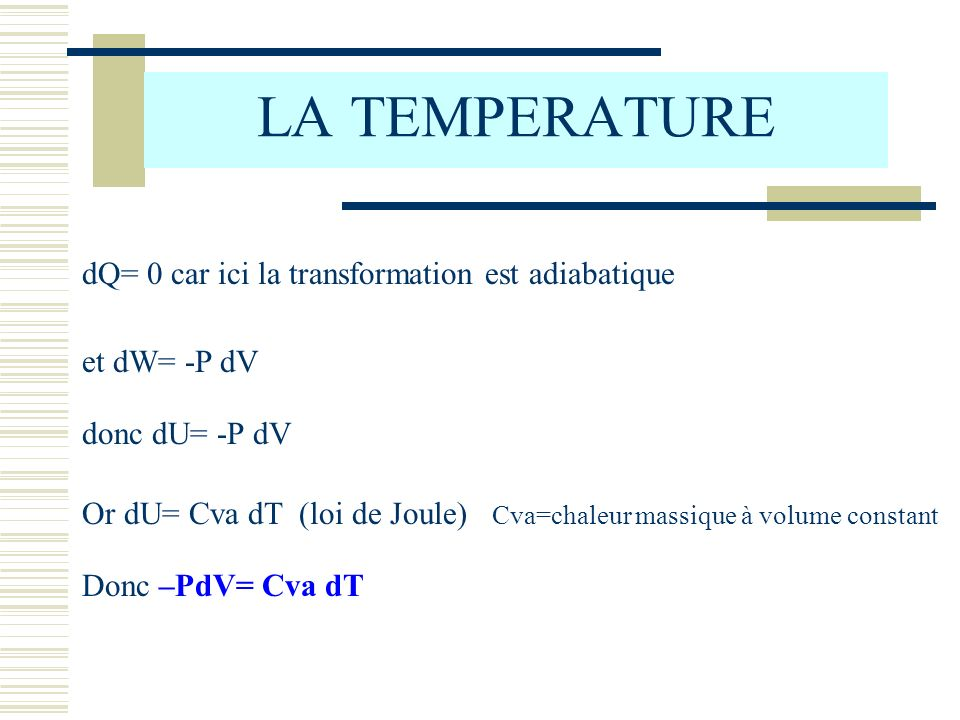 LA TEMPERATURE et dW= -P dV dQ= 0 car ici la transformation est adiabatique donc dU= -P dV Or dU= Cva dT (loi de Joule) Cva=chaleur massique à volume