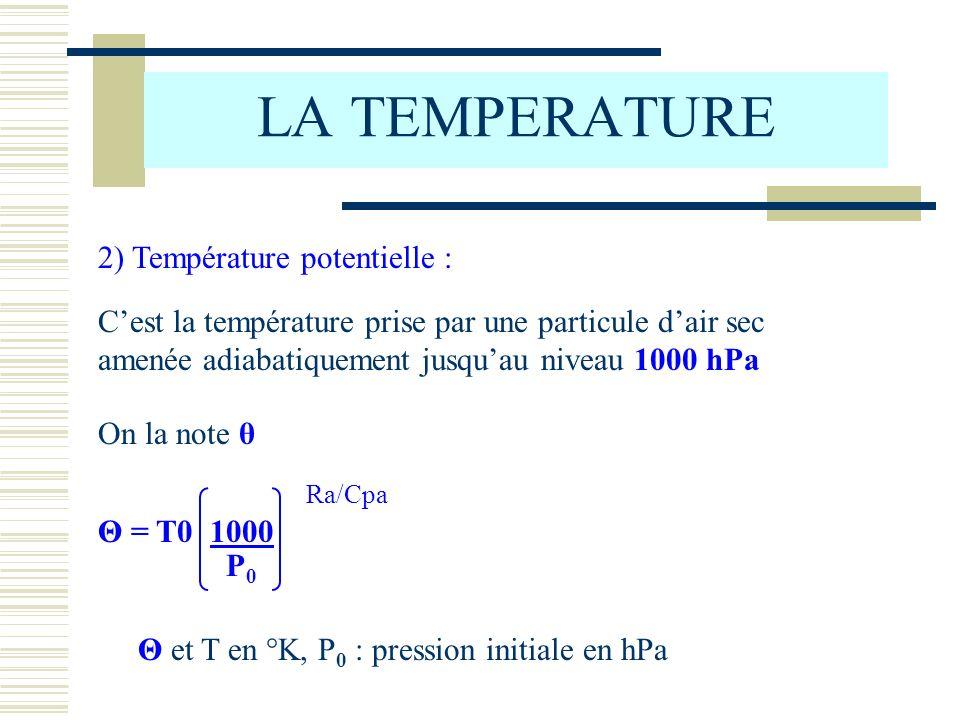 LA TEMPERATURE 2) Température potentielle : Cest la température prise par une particule dair sec amenée adiabatiquement jusquau niveau 1000 hPa On la