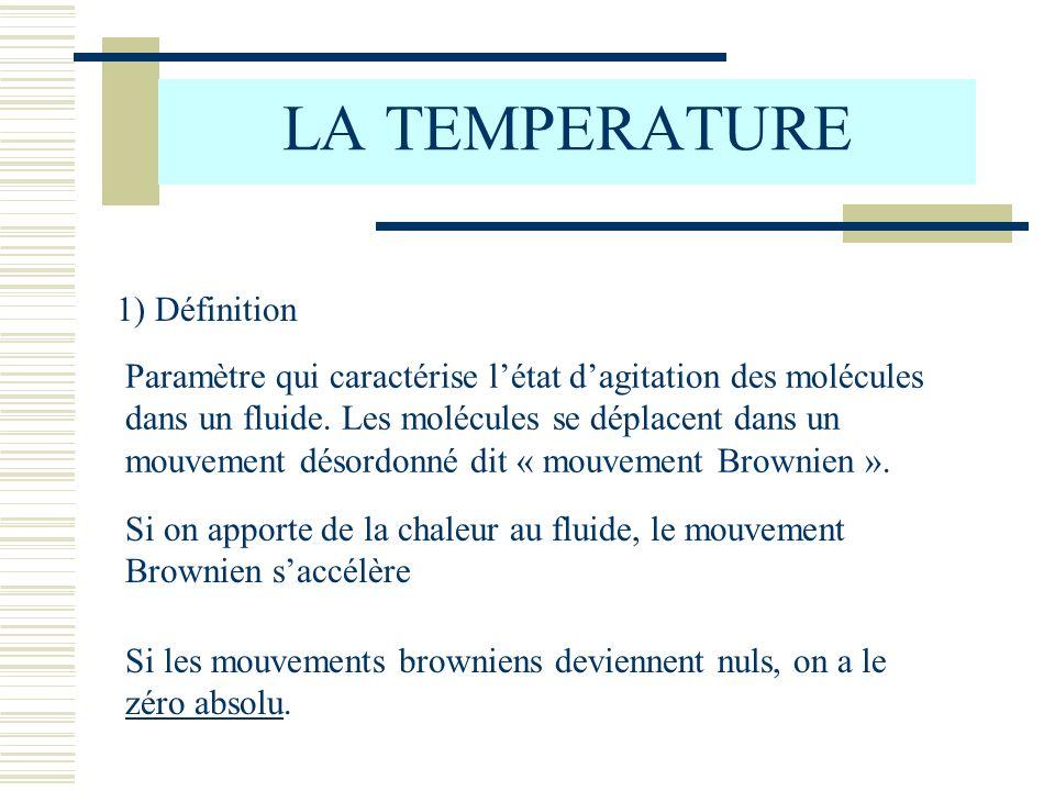 LA TEMPERATURE 1) Définition Paramètre qui caractérise létat dagitation des molécules dans un fluide. Les molécules se déplacent dans un mouvement dés